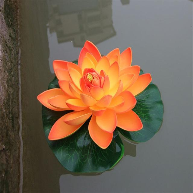 Floating Artificial Lotus Flower Fish Pond Decorations Pet Clever orange