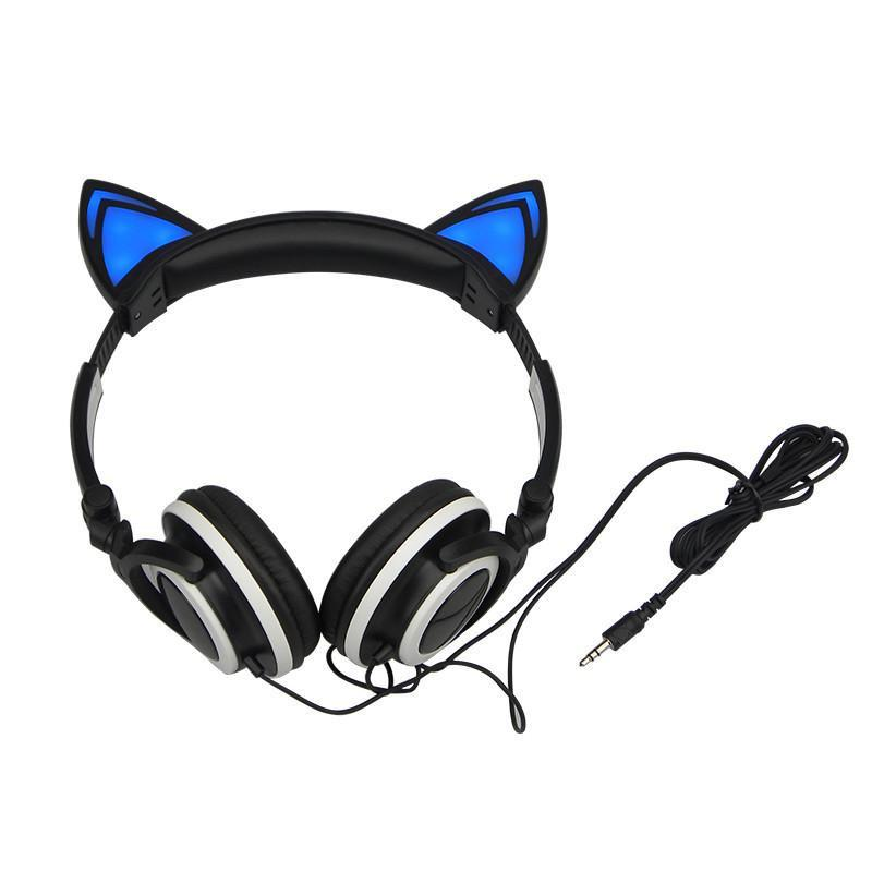 Foldable LED Flashing Cat Headset Cat Design Accessories Pet Clever Black