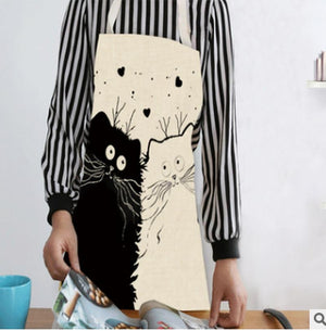 Funny Cat Print Kitchen Apron Cat Design Accessories Pet Clever