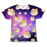 Galaxy Doggo Face Pattern Design T-Shirt All Over Print teelaunch Doggo Pattern S