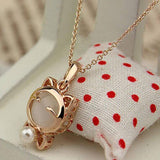 Gold Plated Cat Statement Necklace Cat Design Jewelry Pet Clever White