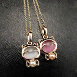 Gold Plated Cat Statement Necklace Cat Design Jewelry Pet Clever