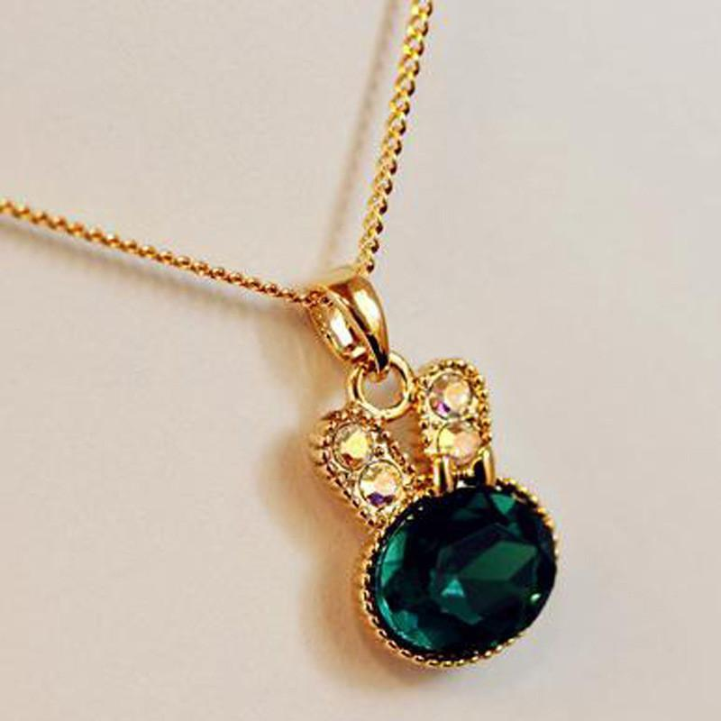 Green Crystal Rabbit Style Necklace Pendant for Women Other Pets Design Jewelry Pet Clever