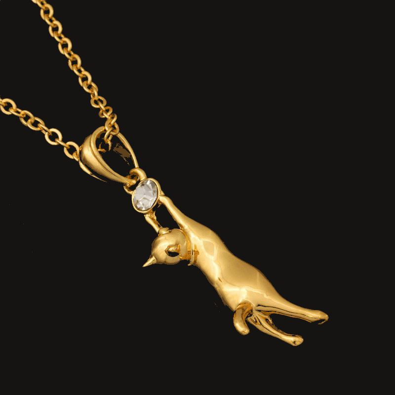 Hanging Cat Rhinestone Pendant Necklace Cat Design Jewelry Pet Clever Gold