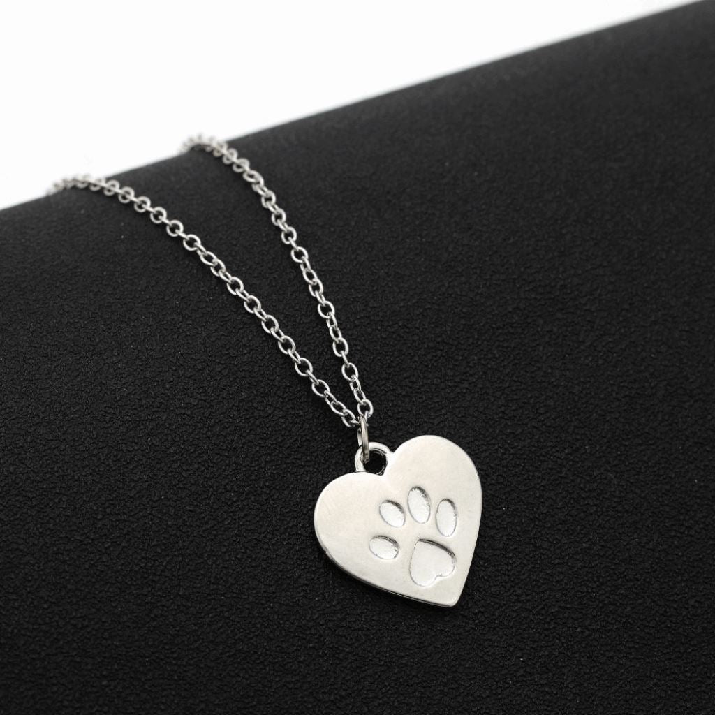 Heart Paw Dog Pendant Necklace Dog Design Jewelry Pet Clever Silver