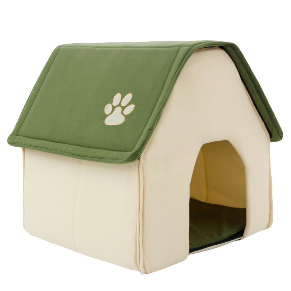 Home Shape Pet House Bed With Removable Cushion & Waterproof Bottom Dog Beds & Blankets Pet Clever Green