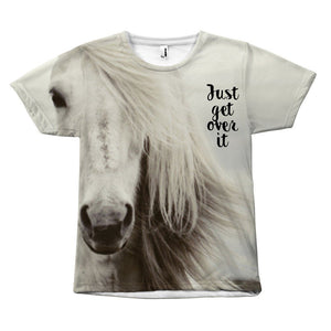 "Horse Design ""Just Get Over It"" T-Shirt All Over Print teelaunch Get Over It S"