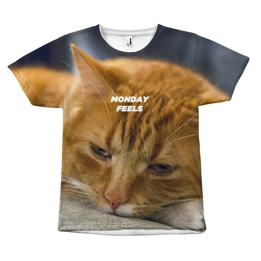 How we Feel During Monday Cat Statement Design T-Shirt All Over Print teelaunch Monday Feels S