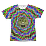 Hypnotic Psychedelic Background Bow Tie Cat Design T-Shirt All Over Print teelaunch Colorful Blue BG S