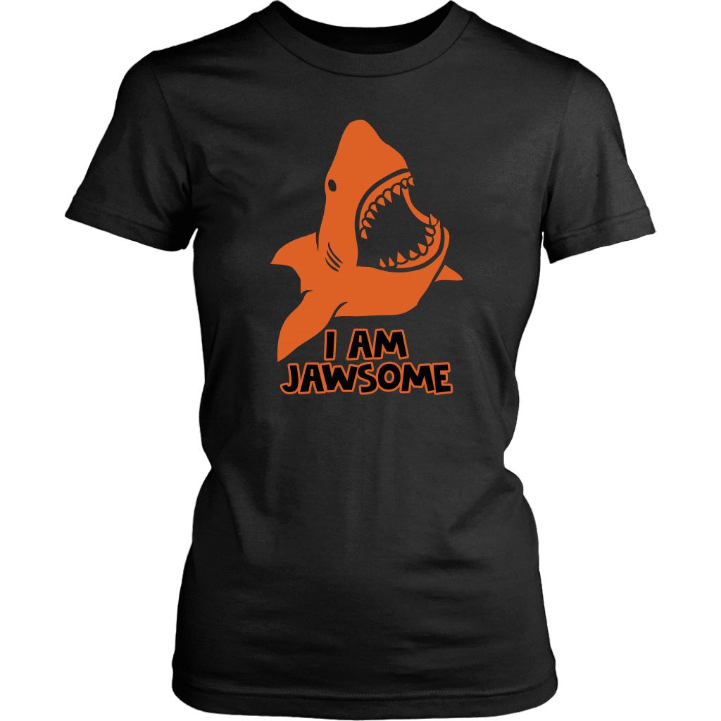 I am Jawsome Shark Shirt Design T-shirt teelaunch District Womens Shirt Black XS