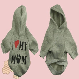 I Love My Mom Dog Hoodies Jackets Dog Clothing Pet Clever XS Pink