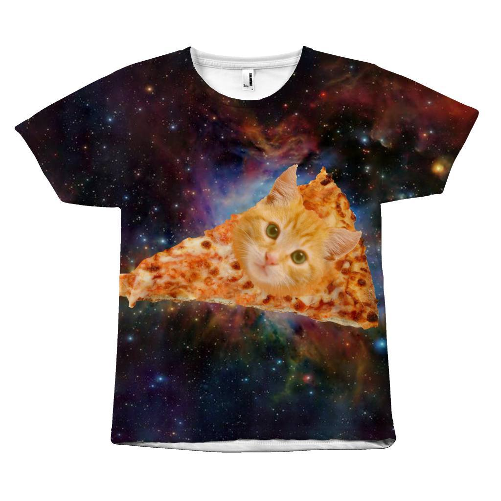 Intergalactic Cheese Pizza Nyan Cat Face T-Shirt Design All Over Print teelaunch Pizza Cat S