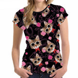 Jolly Cat Face All-Over Print Designs Cat Design T-Shirts Pet Clever Style 1 S