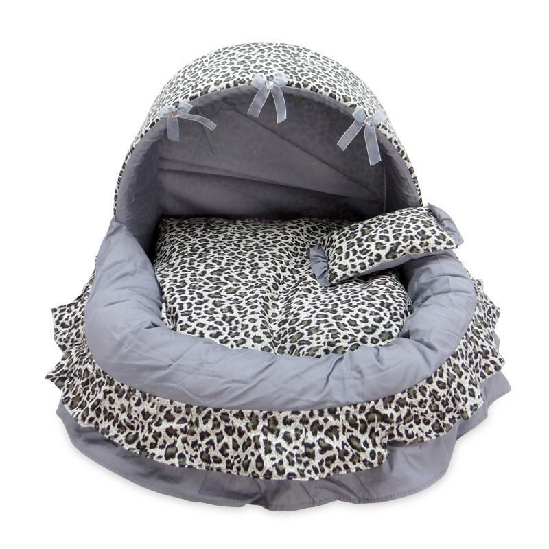 Lace Bow Cat House Bed With Small Pillow Cat Beds & Baskets Pet Clever gray leopard print L