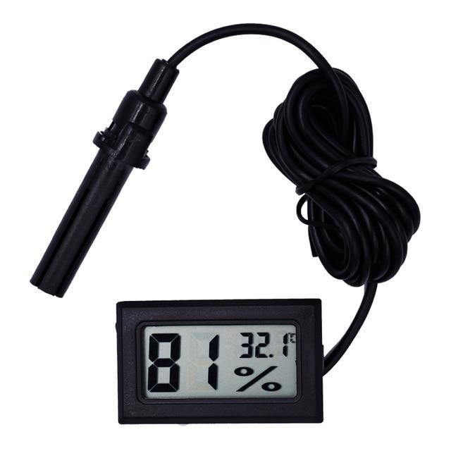 LCD Digital Thermometer Hygrometer with Probe Hygrothermograph Aquarium Thermometer Pet Clever Black