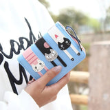 Leather Wallet 3 Kittens Cat Design Accessories Pet Clever Navy Blue