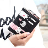 Leather Wallet 3 Kittens Cat Design Accessories Pet Clever Black