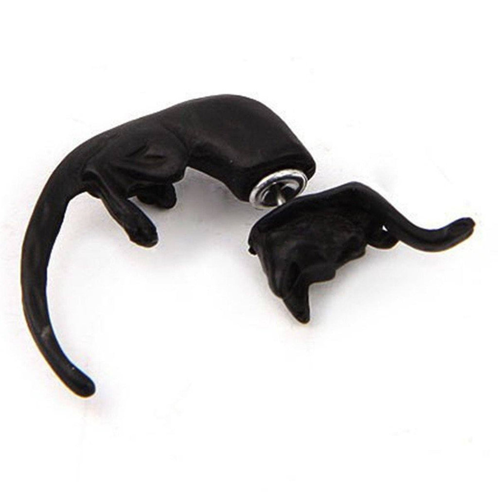 Leopard Cat Long Tail Studd Earrings Cat Design Jewelry Pet Clever Black