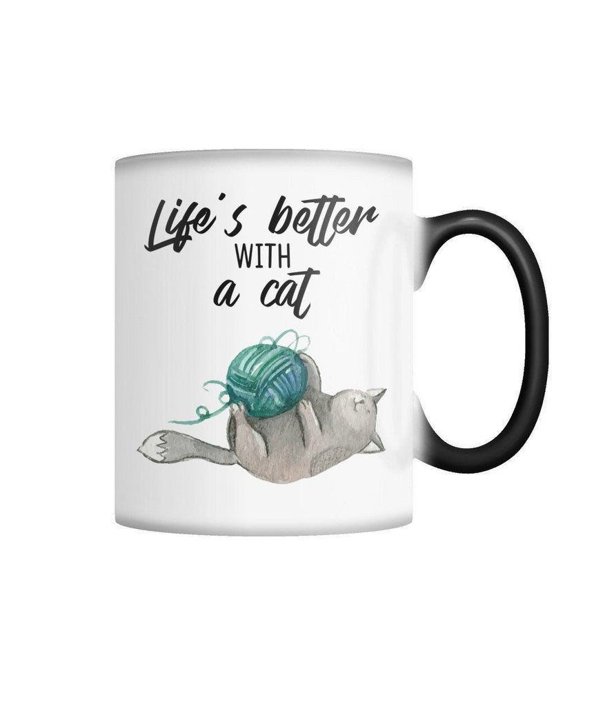 "Limited Edition ""Life's Better with a Cat"" Color Changing Mug Non Apparel ViralStyle White M"