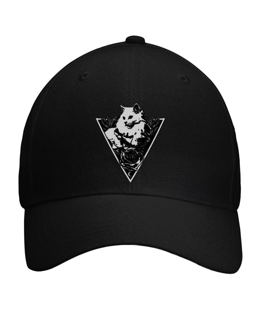 "Limited Edition ""Triangle Cat"" Curved Bill Velcro Strap Cap Apparel ViralStyle Black OS"