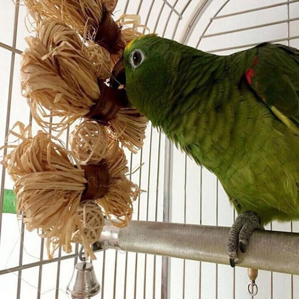 Lovely Bird Parrot Bites Swing Loofah Vine Balls Cage Toy Birds & Parrots Pet Clever