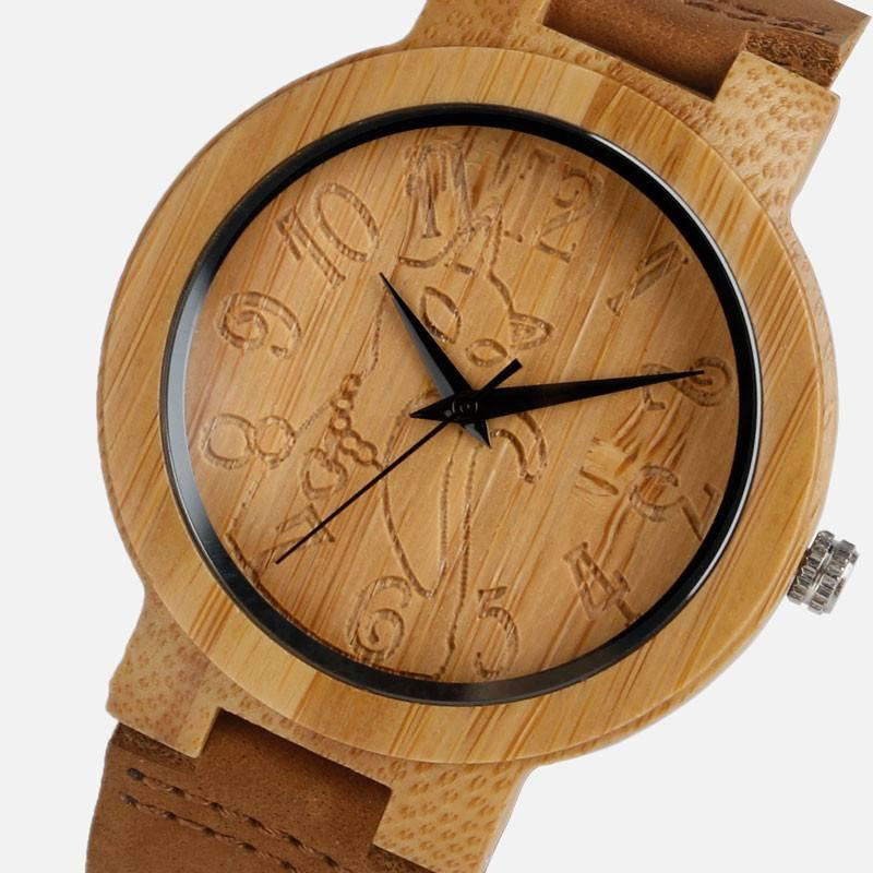 Lovely Vintage Cat Wood Style Wristwatch Bamboo Cat Design Accessories Pet Clever