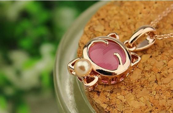 Lucky Cat Necklaces & Pendants Cat Design Jewelry Pet Clever Pink