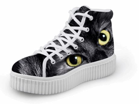Luxury Lace up Platform Yellow Eyes 3D Printing Cat Shoes Cat Design Footwear Pet Clever US 5 - EU35 -UK3