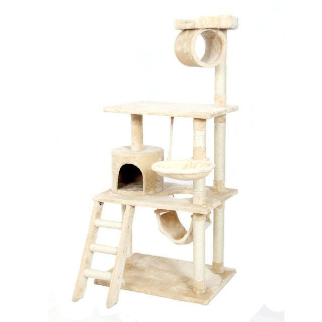 Luxury Multi-layer Cat Climbing Tree Furniture Cat Trees & Scratching Posts Pet Clever Beige