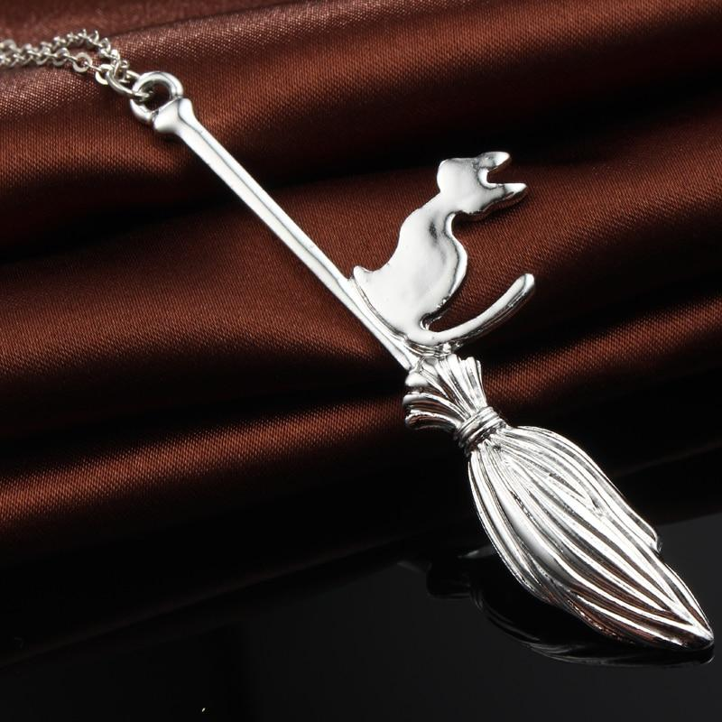 Magic Broom With Cat Pendant Necklace Cat Design Accessories Pet Clever