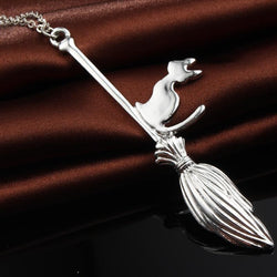 Magic Broom With Cat Pendant Necklace