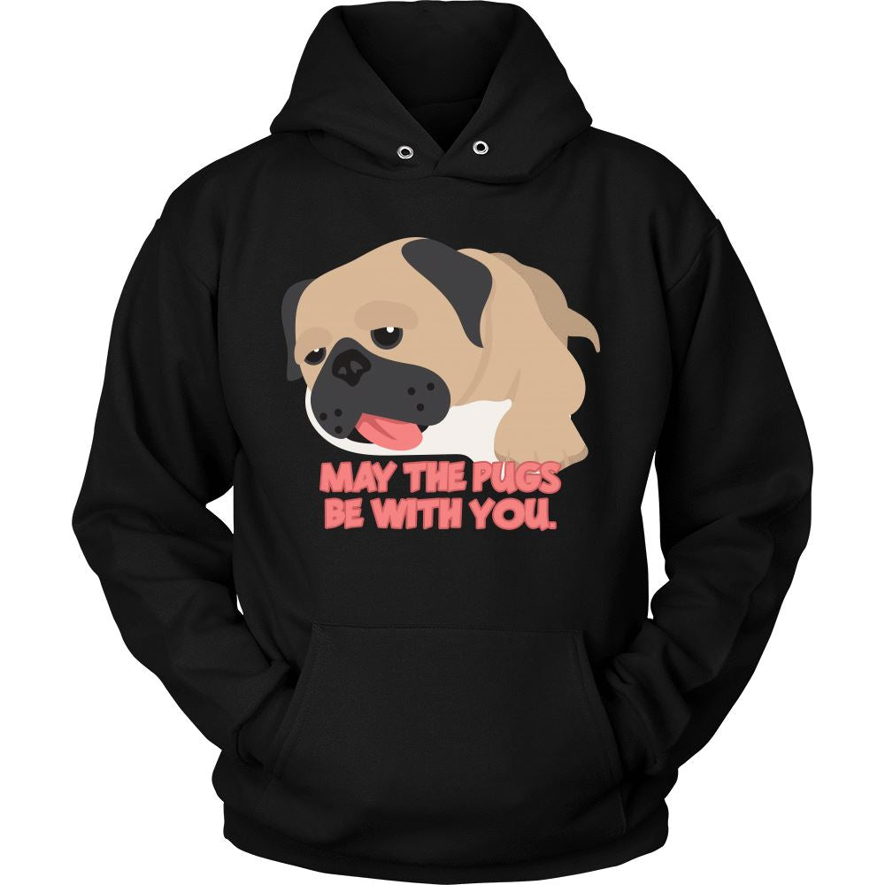 May the Pugs be with You Hoodie Design T-shirt teelaunch Unisex Hoodie Black S