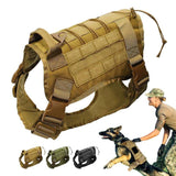 Military Patrol Adjustable Dog Harness with Handle Hunting Dog Harness Pet Clever