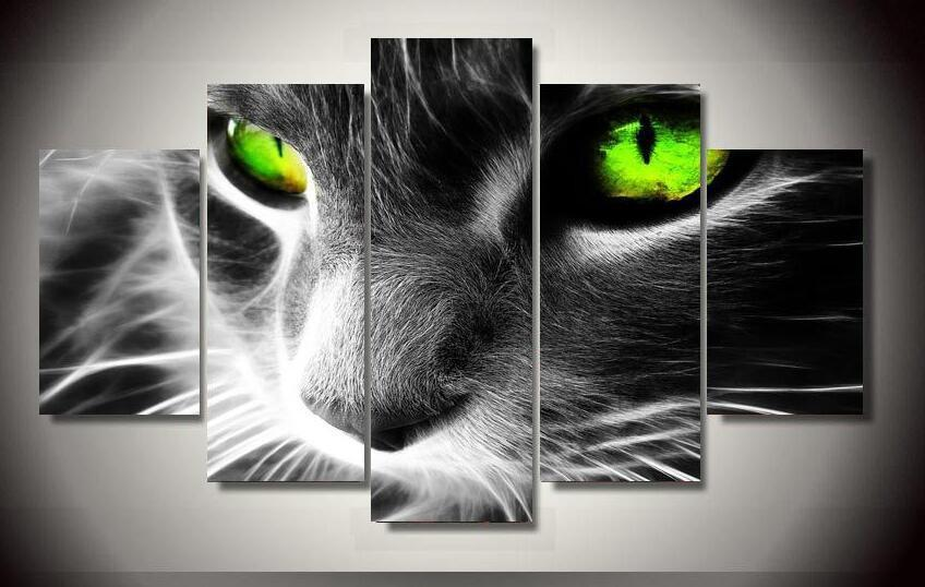 Modern Cat Green Eyes 5Pcs Wall Painting Home Decor Cats Pet Clever S with Frame