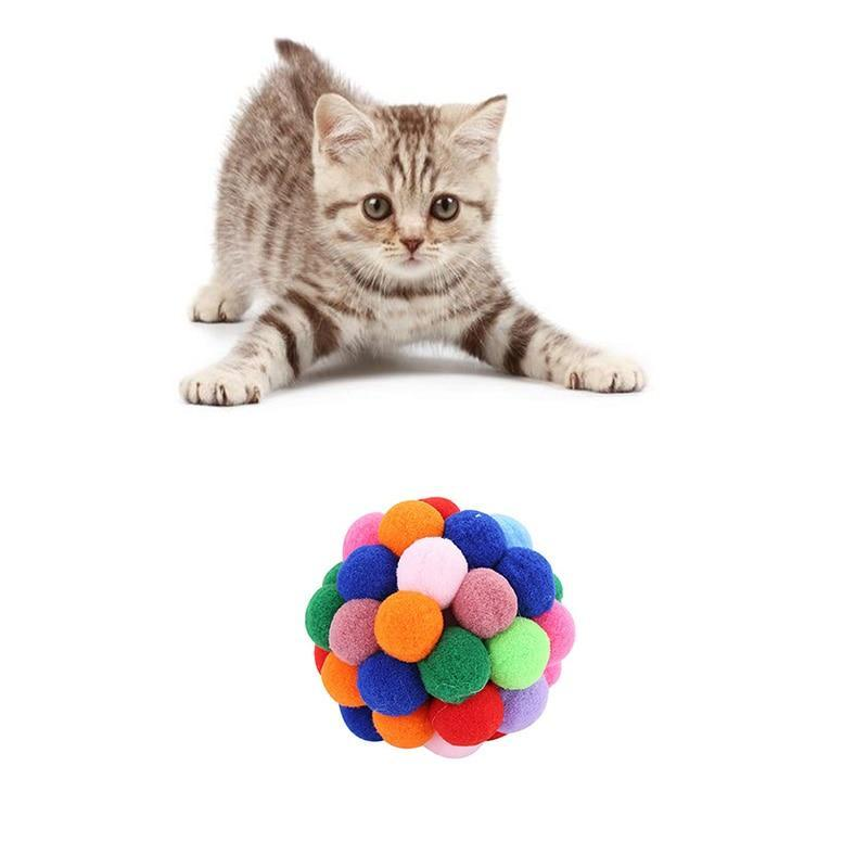 Multi-Color Handmade Bouncy Ball Interactive Cat Toy Cat Pet Clever S