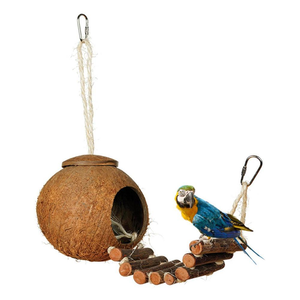 Natural Coconut Shell Hanging Bird Nesting House Hideaway Cage Bird House and Nest Pet Clever