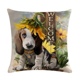 Oil Painting Style Christmas Cover Pillowcase Home Decor Dogs Pet Clever