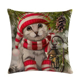 Oil Painting Style Christmas Cover Pillowcase Home Decor Dogs Pet Clever 01