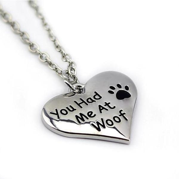 "Paw Heart Necklace ""You Had Me At Woof"" Dog Design Jewelry Pet Clever"
