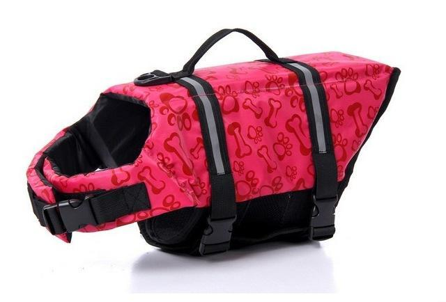 Pet Life Vest Jacket Safety Swimming Harness Dog Harness Pet Clever Red Bone Pattern XXS