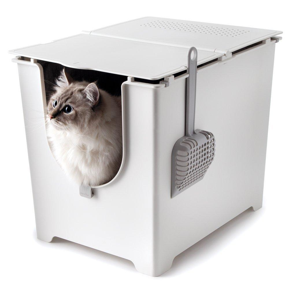 Pet litter box with foldable lid Cat Litter Boxes & Litter Trays Pet Clever