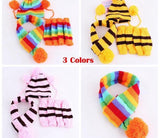 Pets Winter Knitted Striped Hat and Scarf Hats Pet Clever