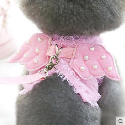Pink Cat Harness Angel Wings With Lead Leash Artist Collars & Harnesses Pet Clever XS