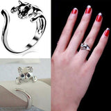 Plated Kitten Ring With A Beautiful Crystal Eyes Cat Design Jewelry Pet Clever