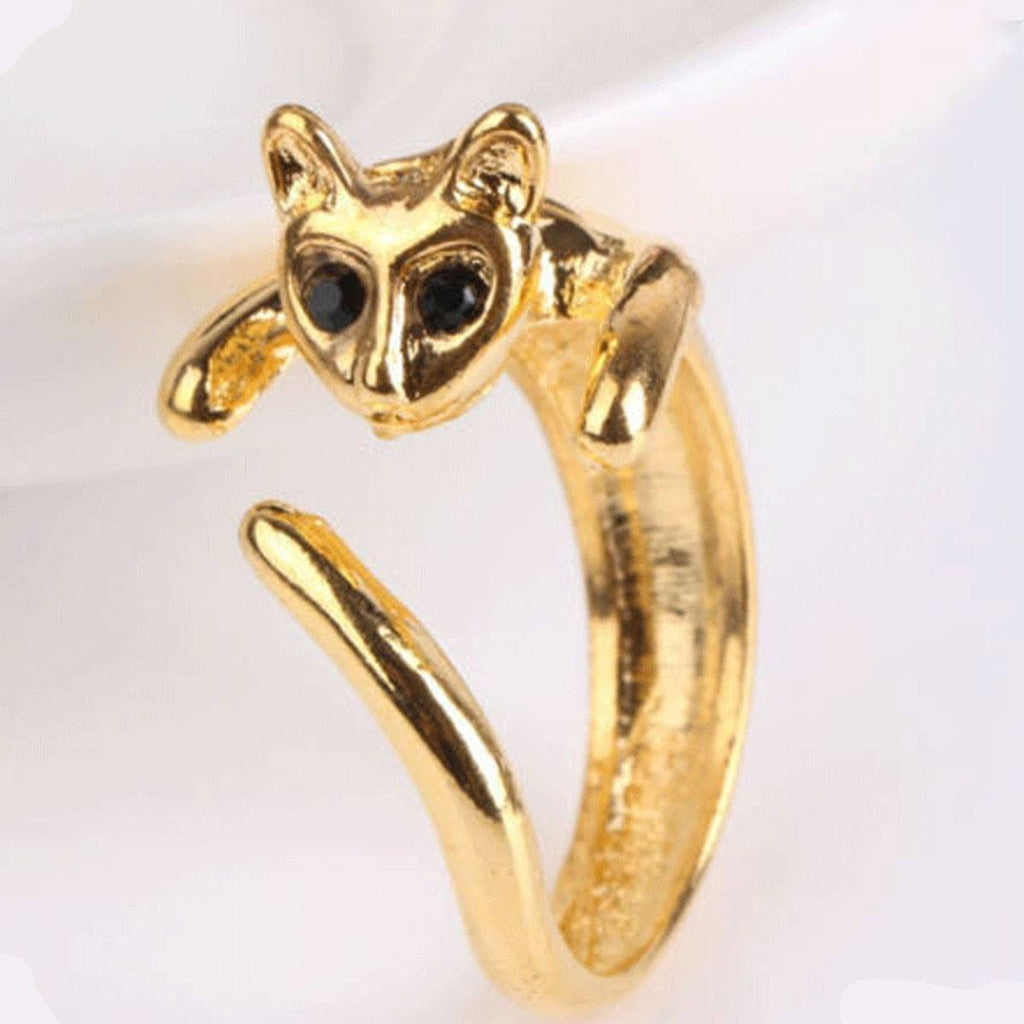Plated Kitten Ring With A Beautiful Crystal Eyes Cat Design Jewelry Pet Clever Gold Ring