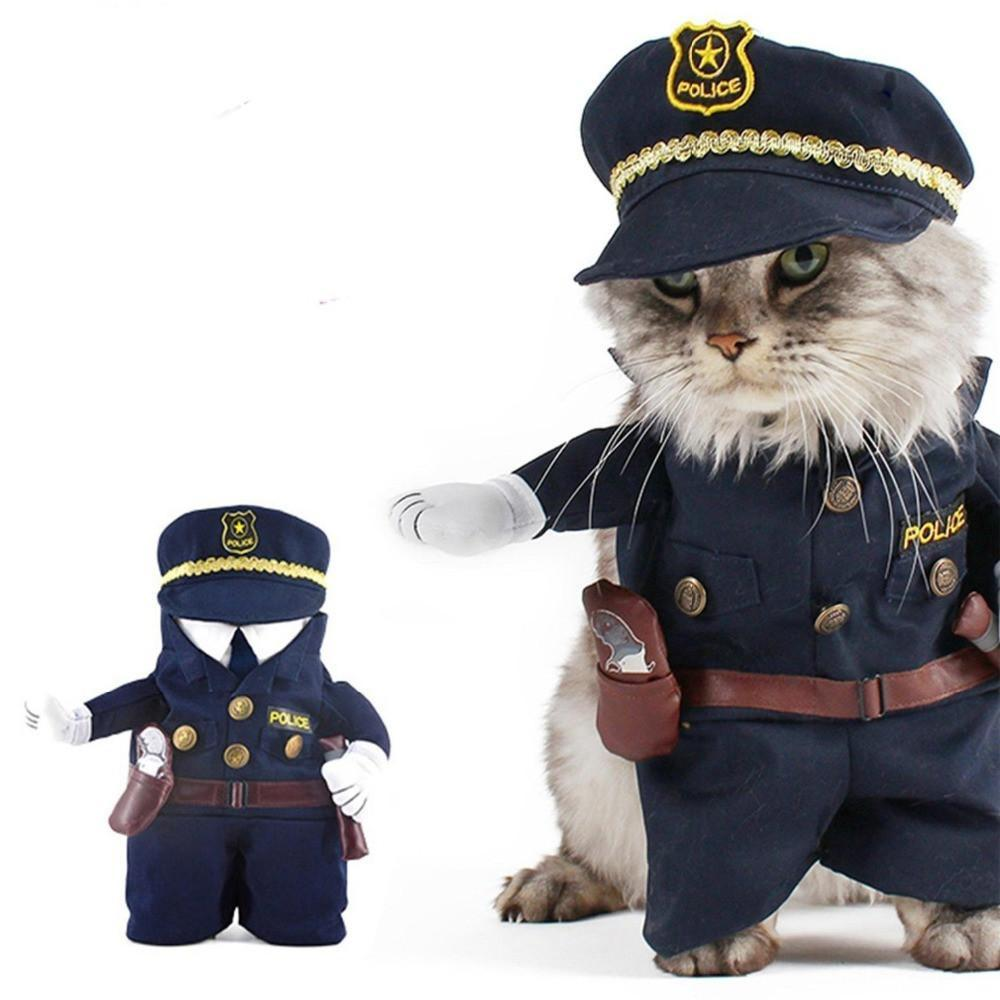 Policeman Style Design Cat Costume Clothes Cat Clothing Pet Clever