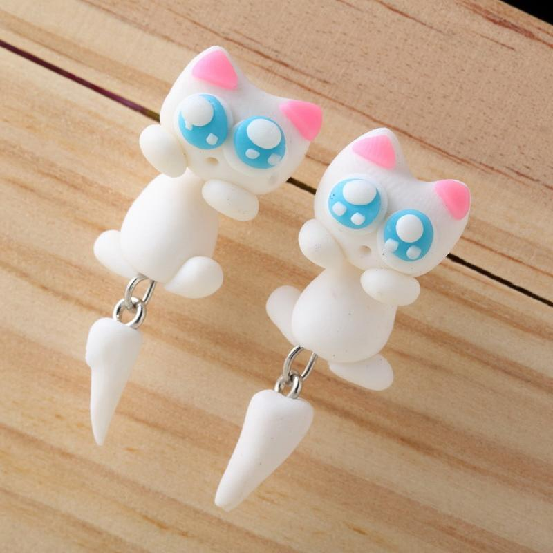 Polymer Clay Cat Stud Earrings Cat Design Jewelry Pet Clever