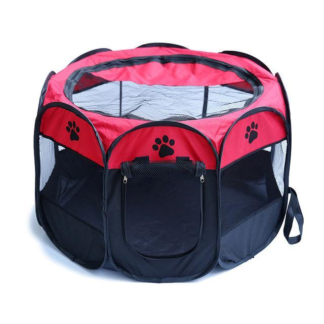 Portable Octagonal Folding Pet House Cage Pet Tent Dog Tent Pet Clever Red Small