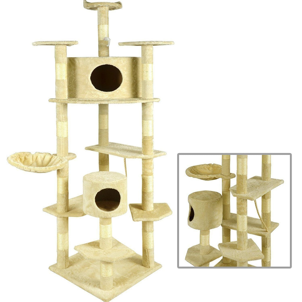 Premium Cat Tree Tower Condo Cat Trees & Scratching Posts Pet Clever Beige