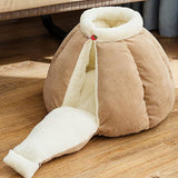Pumpkin Pet Sleeping Cave Bed Dog Beds & Blankets Pet Clever Brown M For pet within 3kg